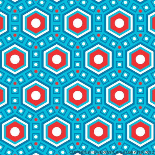 'Bold Honeycomb' surface pattern design by Veronica Galbraith | Pitter Pattern