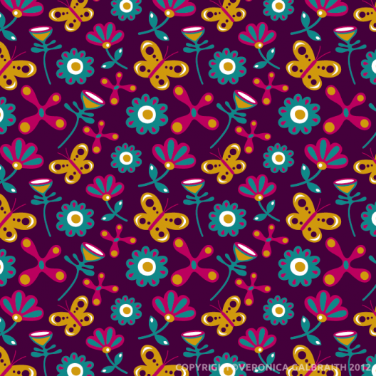 'Flower Burst' surface pattern design by Veronica Galbraith | Pitter Pattern