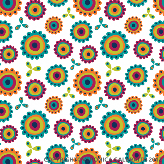 'Jolly Blooms' surface pattern design by Veronica Galbraith | Pitter Pattern