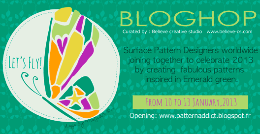 Veronica Galbraith on Let's Fly | A Colossal Surface Pattern Design Blog Hop | Pitter Pattern