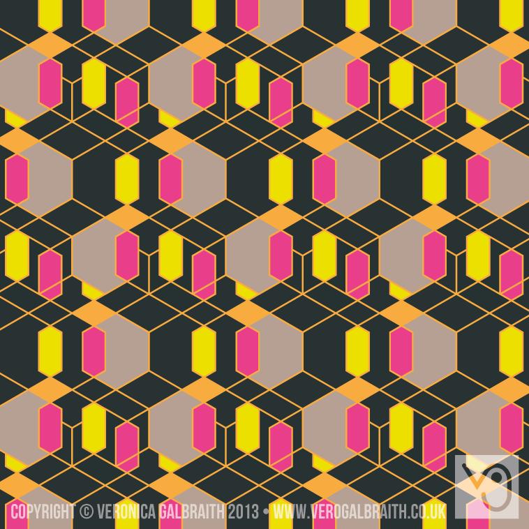 'Glowing Matrix' surface pattern design by Veronica Galbraith [1] | Pitter Pattern