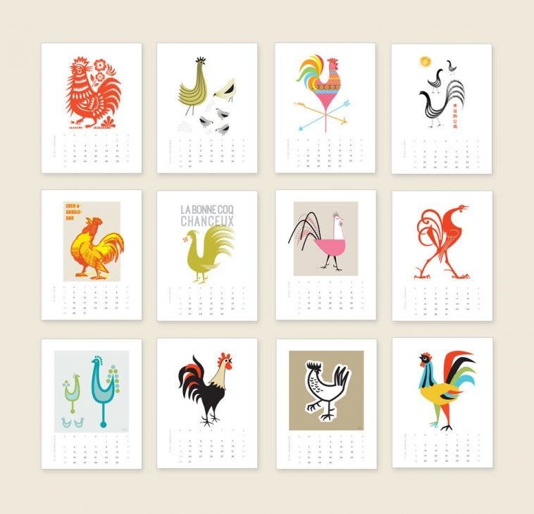 Lucky The Rooster Calendar 2016 | Pitter Pattern