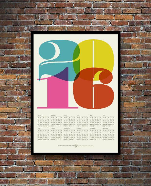 Yumalum Mid Century Typography Calendar 2016   Pitter pattern