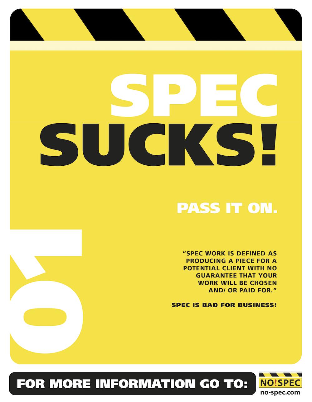 Spec Sucks by Jeff Andrews • NO!SPEC • Pitter Pattern