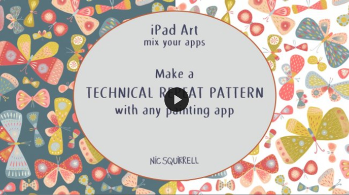 Skillshare pattern classes | iPad Art: Make a Technical Repeat Pattern with Any Painting App with Nic Squirrell | Pitter Pattern