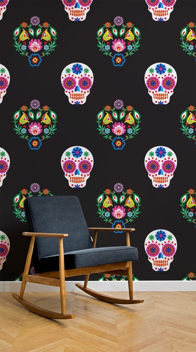Day Of The Dead Wallpaper - Skull Floral Pattern [3] | Pitter Pattern