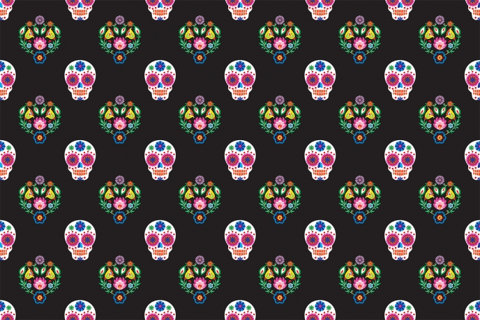 Day Of The Dead Wallpaper - Skull Floral Pattern [2] | Pitter Pattern