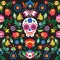 Day Of The Dead Wallpaper - Sugar Skull Floral Wall Mural [1] | Pitter Pattern