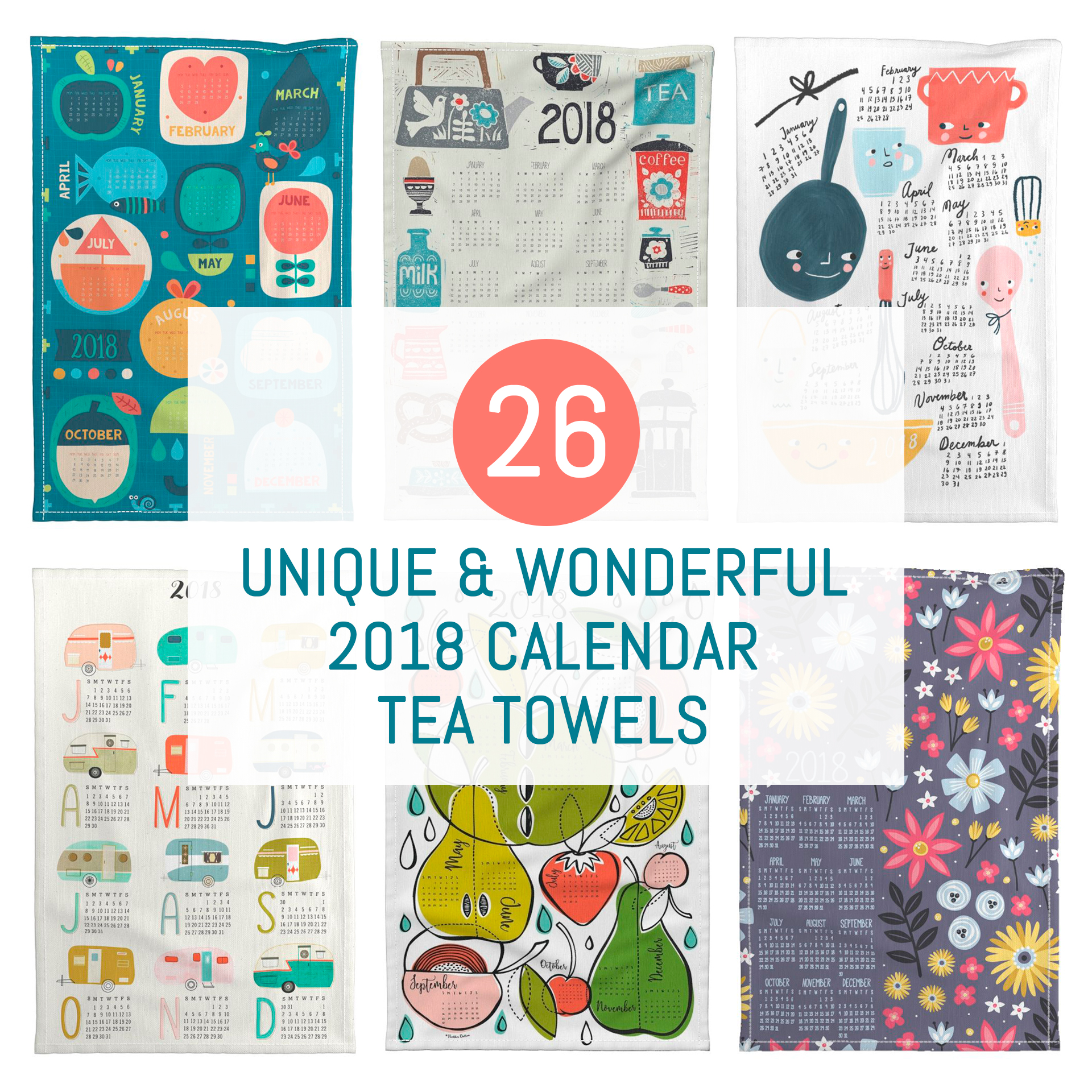 Spoonflower's 2018 Calendar Tea Towels | Pitter Pattern