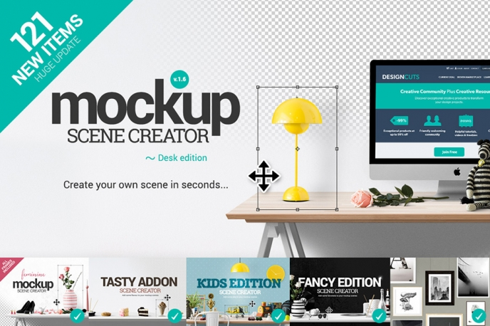 Mockup Scene Creator Desk Edition - Design Cuts | Pitter Pattern