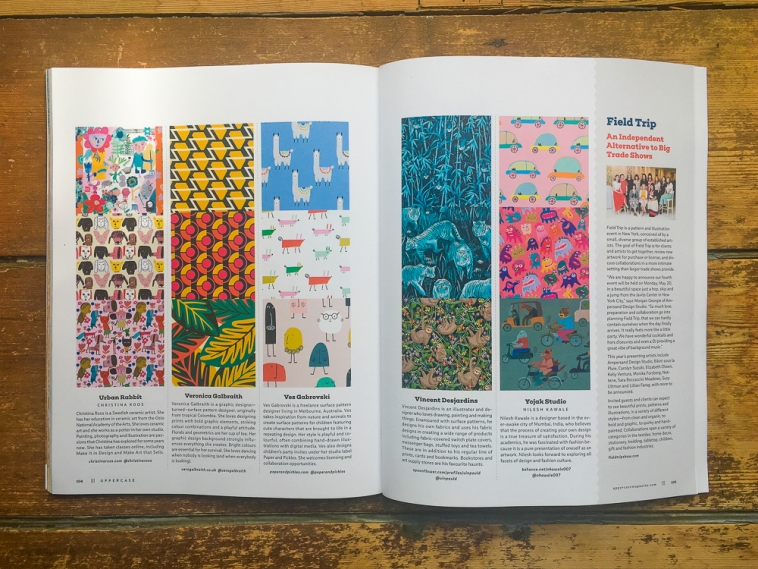 UPPERCASE Surface Pattern Design Guide - 5 designers' work spread