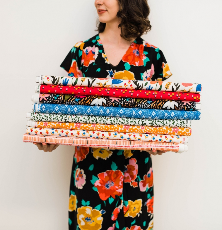Designer and artist Juliet Meeks with her fabric collection