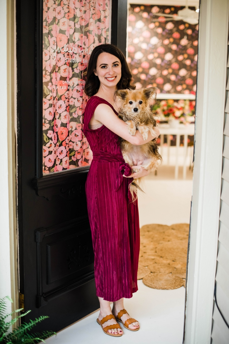 Designer and artist Juliet Meeks at her studio with her dog Roxy
