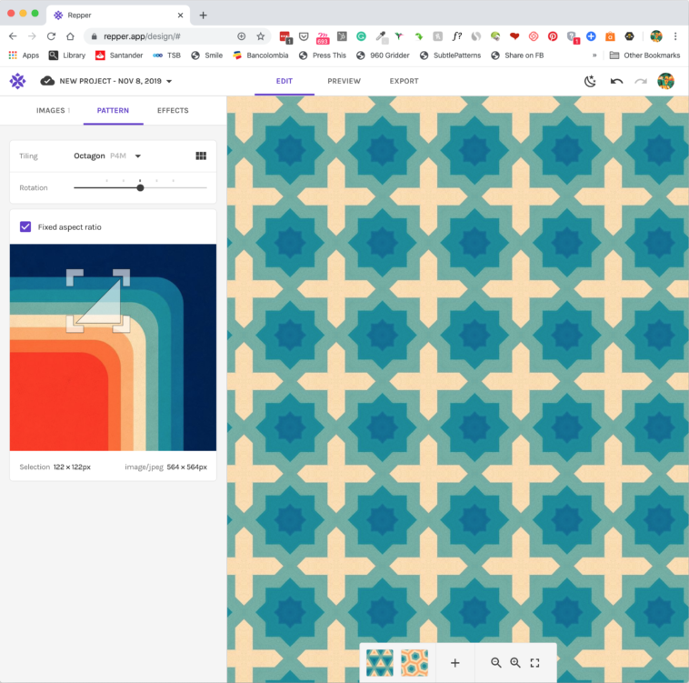 Pattern making with the Repper app - Selecting the area of the image to use for your pattern