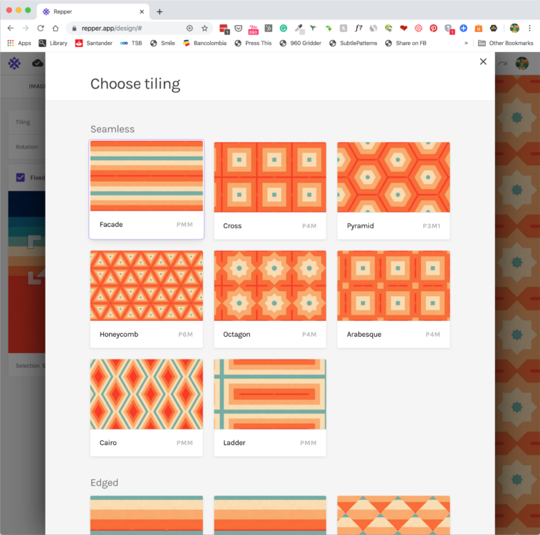 Pattern making with the Repper app - Choosing your tiling style