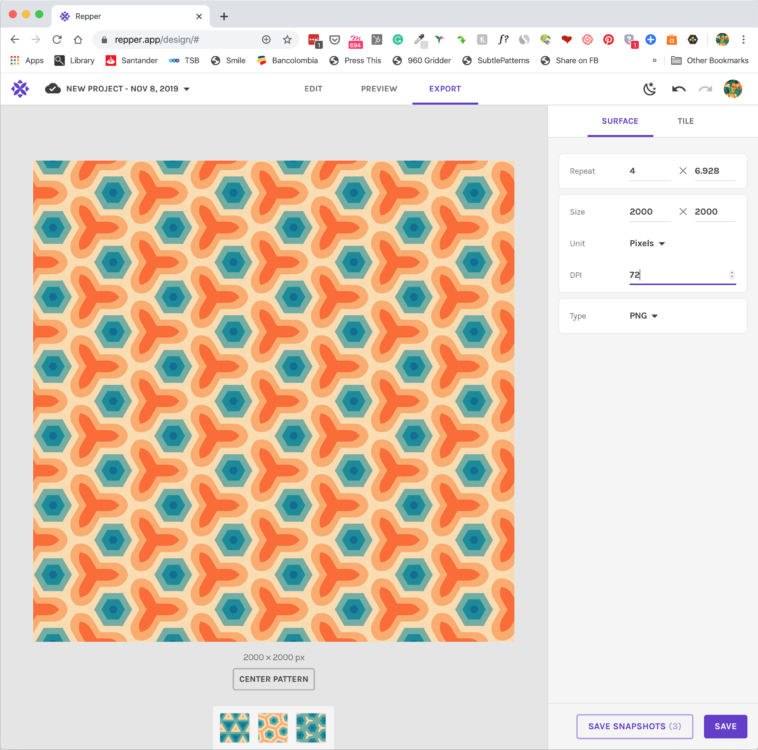 Pattern making with the Repper app - Exporting your pattern as a surface