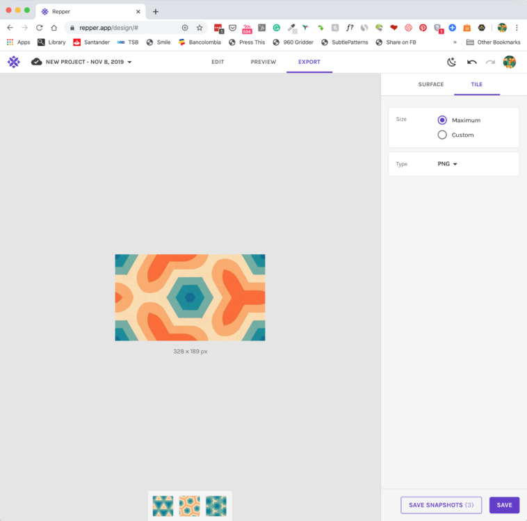 Pattern making with the Repper app - Exporting your design as a repeating tile